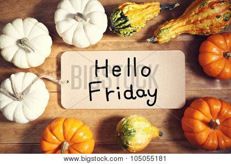 Hello Friday Message With Colorful Pumpkins