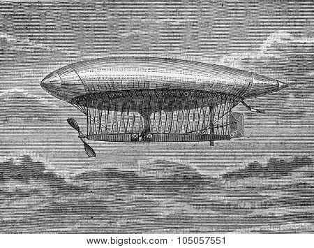 The aerostat airship, La France, MM. Captains Krebs and Renard, vintage engraved illustration. Industrial encyclopedia E.-O. Lami - 1875.
