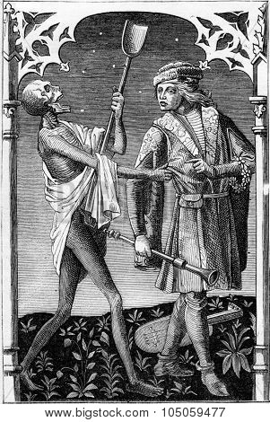 Death and the Minstrel, vintage engraved illustration. Magasin Pittoresque 1882.