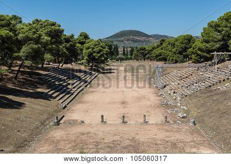 Ruins Of Stadium In Epidavros, Greece