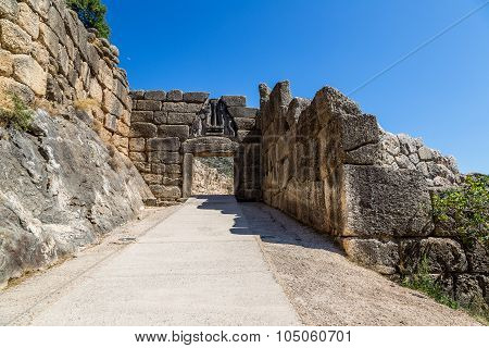 Lion Gate In Mycenae, Greece