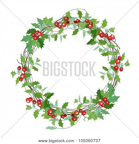 Round Christmas wreath with holly branches isolated on white. For festive design, announcements, postcards, invitations, posters.