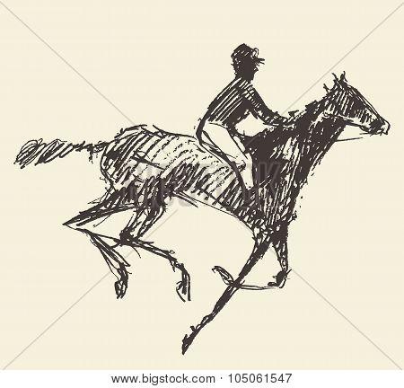 Rider horse jockey retro style hand drawn sketch
