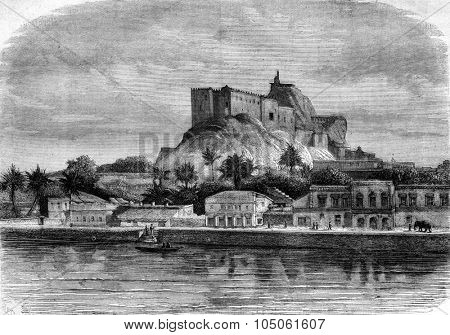 Sadras, maritime city, in the Madras Presidency, vintage engraved illustration. Magasin Pittoresque 1877.