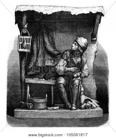 The Cobbler whistling sound Starling, terracotta factory Bellevue, vintage engraved illustration. Magasin Pittoresque 1877.