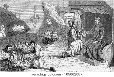 Polybius and the city of the fountain in Jouvenee in the prelude, Travel Mandeville, vintage engraved illustration. Magasin Pittoresque 1867.