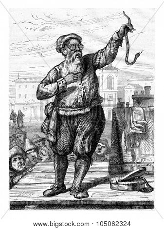 A Charlatan of Bologna in the seventeenth century by Metelli, vintage engraved illustration. Magasin Pittoresque 1867.