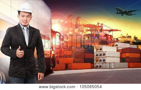 Business Man And Comercial Ship With Container On Port Use For Import ,export And Shipping Logistic