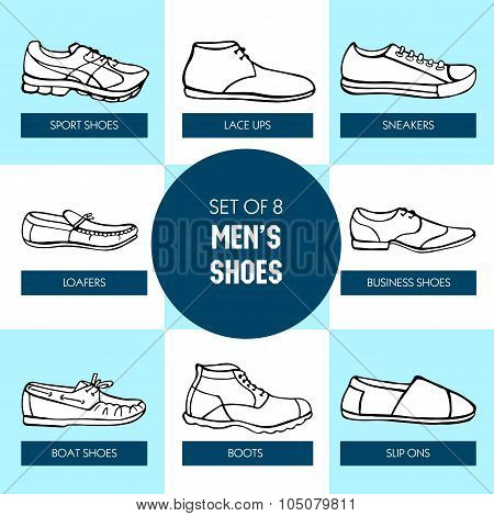 Hand Drawn Men's Shoes In Black And White Colors
