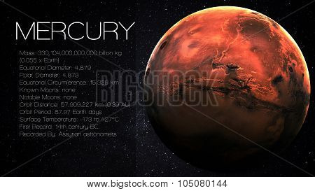 Mercury - 5K resolution Infographic presents one of the solar system planet, look and facts. This image elements furnished by NASA. poster