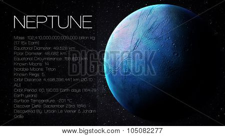 Neptune - High resolution Infographic presents one of the solar system planet, look and facts. This