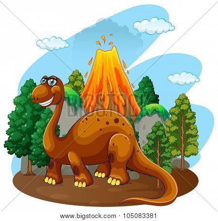 Dinosaur living in the jungle  illustration