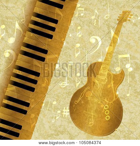 Musical Background Piano Keys And Guitar Jazz