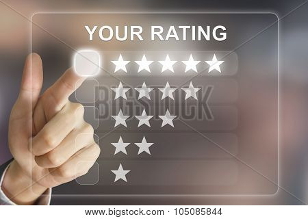 Business Hand Pushing Your Rating On Virtual Screen