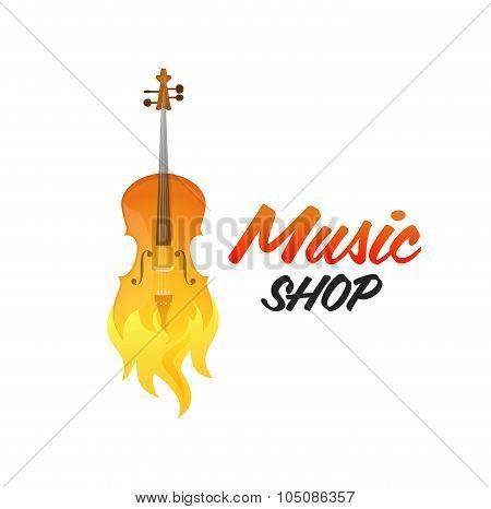Creative Vector Logo Of Music Shop