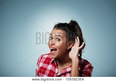 Closeup Portrait Surprised Young Nosy Woman Hand To Ear Gesture Carefully Intently Secretly Listenin