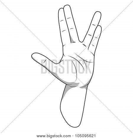 Vulcan salute hand gesture vector illustration