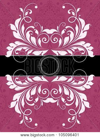 Vintage invitation card with ornate elegant abstract floral design, black and white on fuschia pink with ribbon. Vector illustration.