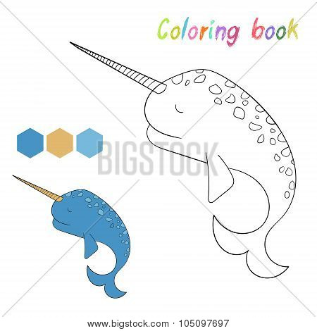 Coloring book narwhal kids layout for game