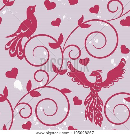 Seamless Pattern With Silhouettes Of Birds