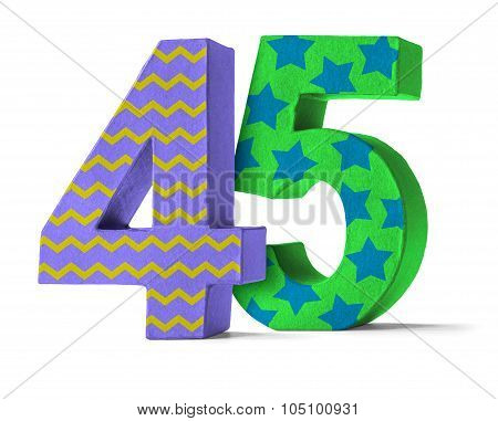 Colorful Paper Mache Number On A White Background  - Number 45