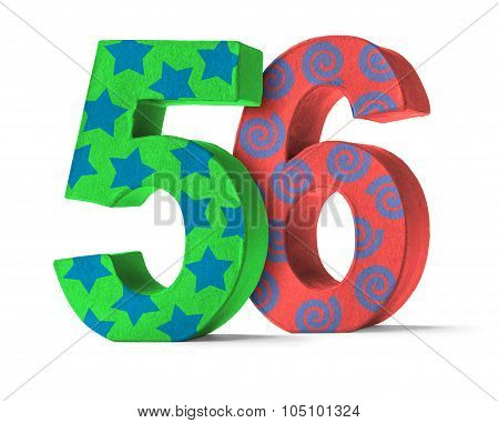 Colorful Paper Mache Number On A White Background  - Number 56