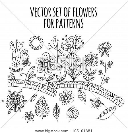Vector set of doodle flowers.