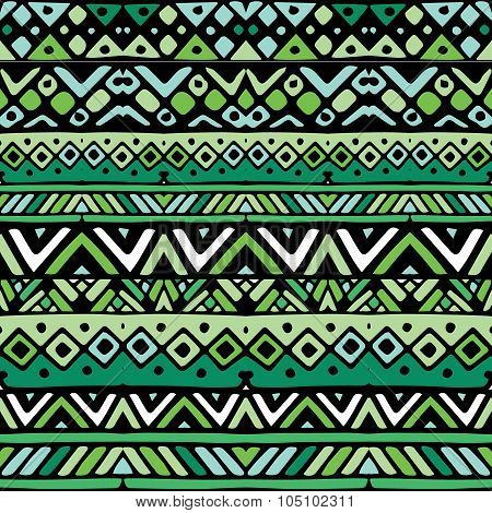 Green Ethnic Mexican Tribal Stripes Seamless Pattern