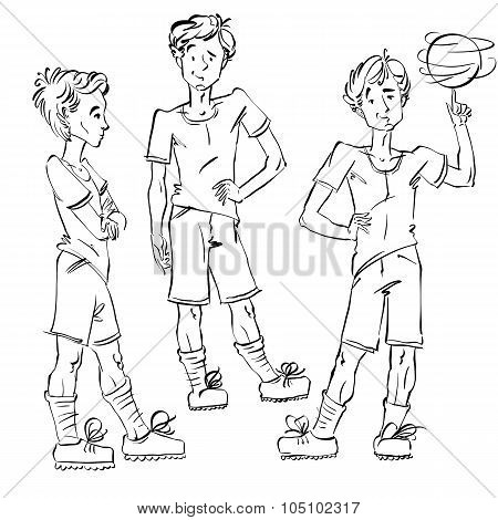 Set Of Vector Full-length Hand-drawn Caucasian Teens With A Soccer Ball, Black And White Front