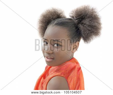 Afro girl with pigtails smiling, ten years old, isolated