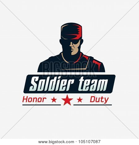 Soldier team logo template. Serious man in bulletproof vest and cap on white background..