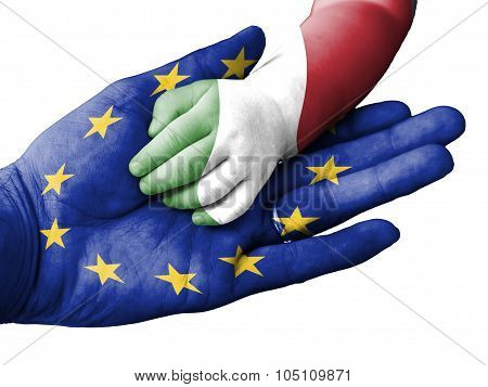 Adult Man Holding A Baby Hand With European Union And Italy Flags Overlaid. Isolated On White