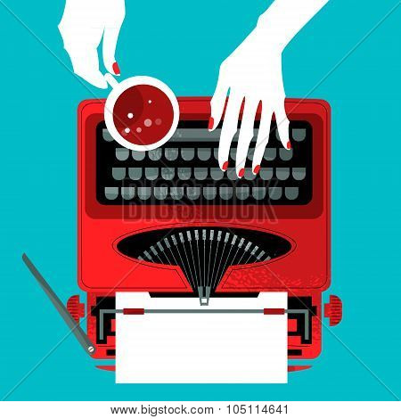 Woman Typing On A Vintage Typewriter And Holding A Cup.
