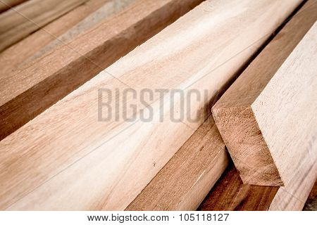 Cut Timber Or Sawed Timber Prepare For The Construction