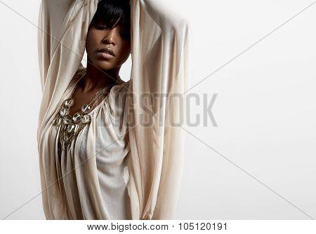 Black Woman Wearing Light Shifon Shirt