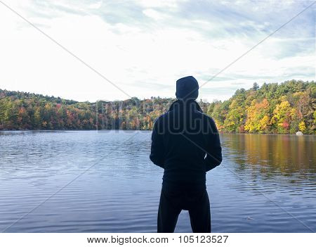 Man Looking At Burr Pond