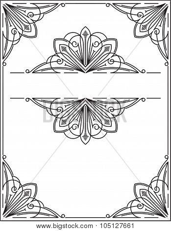Vintage Frame, Page Decoration Template, Set Of Decorative Design Elements In Retro Style, Vector Sc