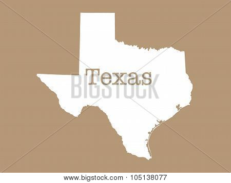 Texas State Outline illustration on beige background