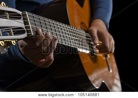 Child Hand Playing Guitar, low key