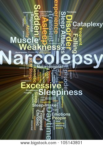 Background concept wordcloud illustration of narcolepsy glowing light