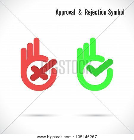 Hand And Modern Check Mark Icon.wrong And Right Check Mark Icons.ok Logo Design Vector Symbol.hand O
