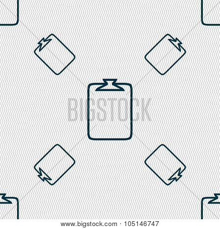 File Annex Icon. Paper Clip Symbol. Attach Sign. Seamless Pattern With Geometric Texture. Vector