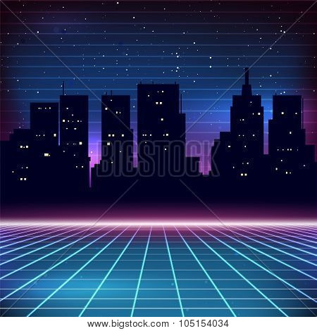 80s Retro Sci-Fi Background with city silhouette poster