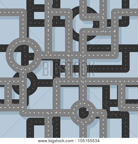Road Seamless Pattern. Map Highway Background. Endless Road Highway. Road Junction On Several Levels