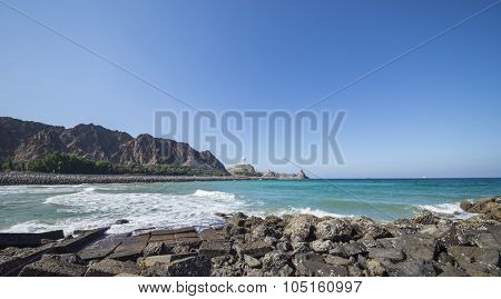 Panoramic view of Muthra Corniche, Muscat, Oman.