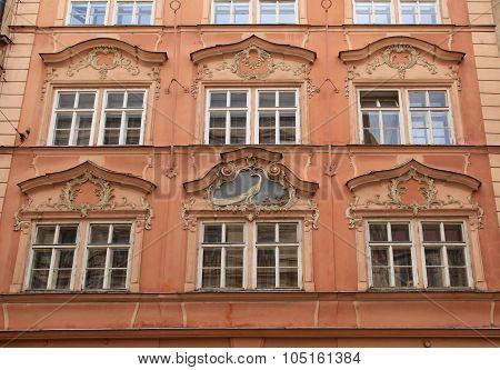 Baroque Building With Ornate Windows In Prague, Czech Republic