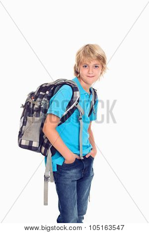 Boy With Satchel In Front Of White Background