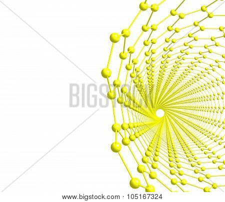Isolated illustration of carbon nanotube on white background. 3D illustration