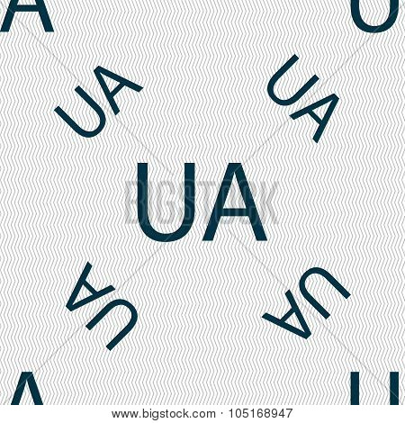 Ukraine Sign Icon. Symbol. Ua Navigation. Seamless Pattern With Geometric Texture. Vector