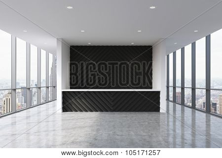 A Reception Area In A Modern Bright Clean Office Interior. Huge Panoramic Windows With New York View